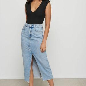 Flattering high rise rigid denim skirt